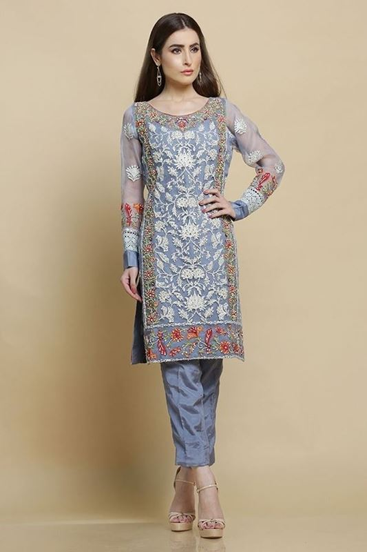 Sadaf Amir - Grey Formal Organza Shirt