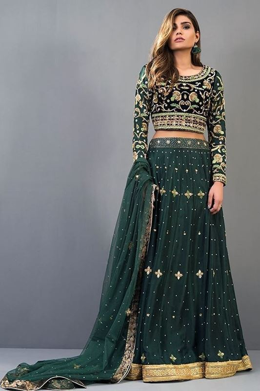 Sadaf Amir - Green Formal Raw Silk Lehenga