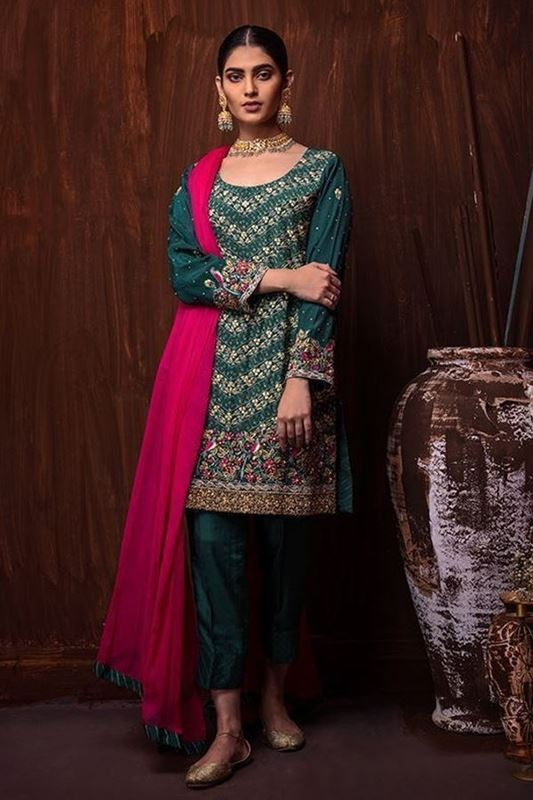 Sadaf Amir - Green Bridal Raw Silk Suit