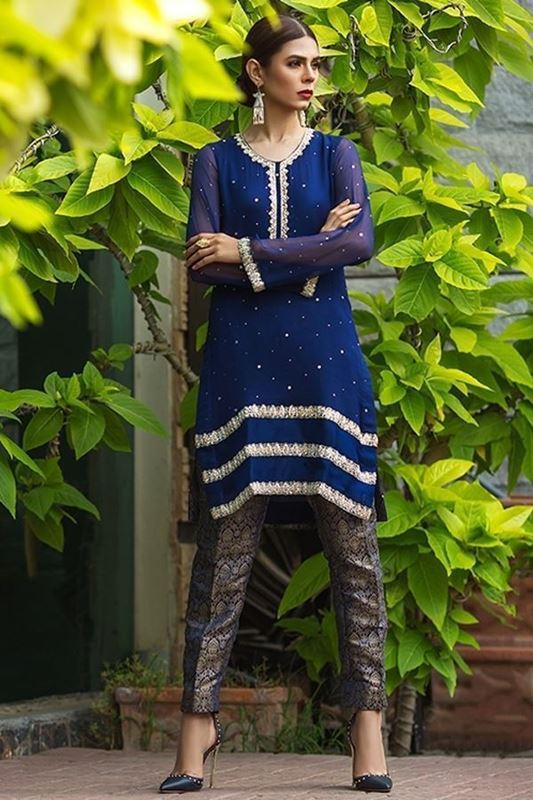 Sadaf Amir - Blue Formal Chiffon Shirt