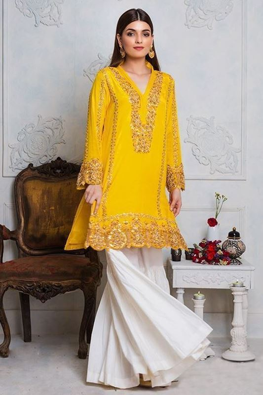 Sadaf Amir - Yellow Formal Raw Silk Shirt
