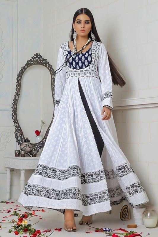 Sadaf Amir - White Formal Cotton Frock
