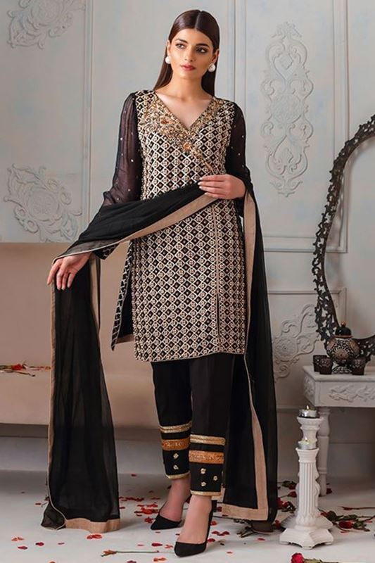 Sadaf Amir - Black Formal Raw Silk Shirt