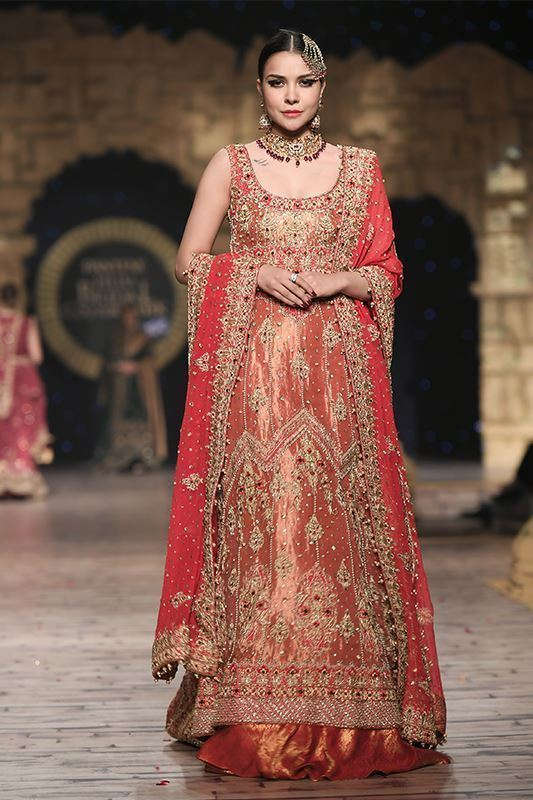 Sadaf Amir - Orange Bridal Raw Silk Sharara