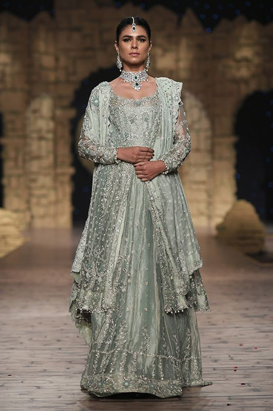 Sadaf Amir - Green Bridal Raw Silk Lehenga