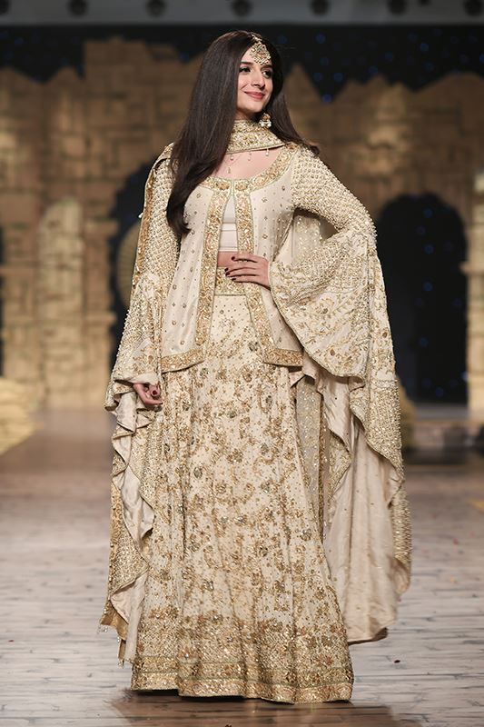 Sadaf Amir - White Bridal Raw Silk Lehenga