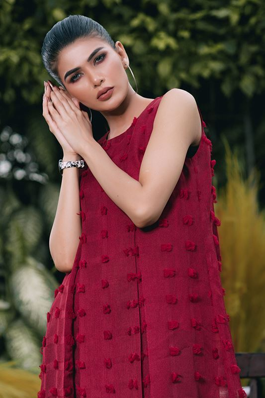 Sadaf Amir - Red Fusion Textured Gown
