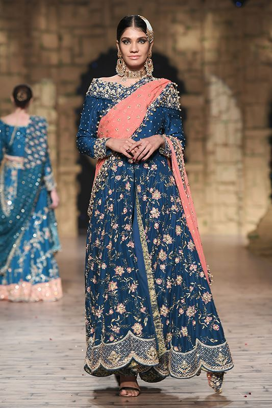 Sadaf Amir - Blue Bridal Raw Silk Lehenga